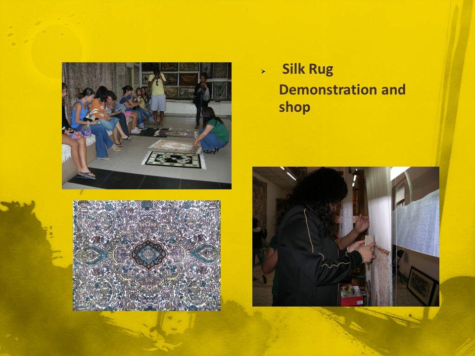 Silk Rug Demonstration and shop