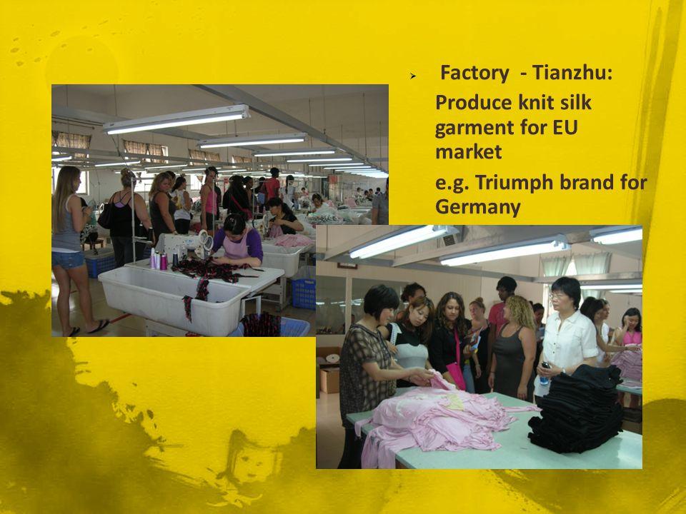 Factory - Tianzhu: Produce knit silk garment for EU market e.g. Triumph brand for Germany