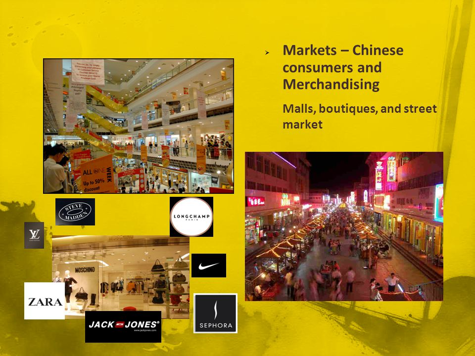 Markets – Chinese consumers and Merchandising Malls, boutiques, and street market