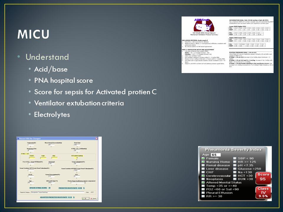 Understand Acid/base PNA hospital score Score for sepsis for Activated protien C Ventilator extubation criteria Electrolytes