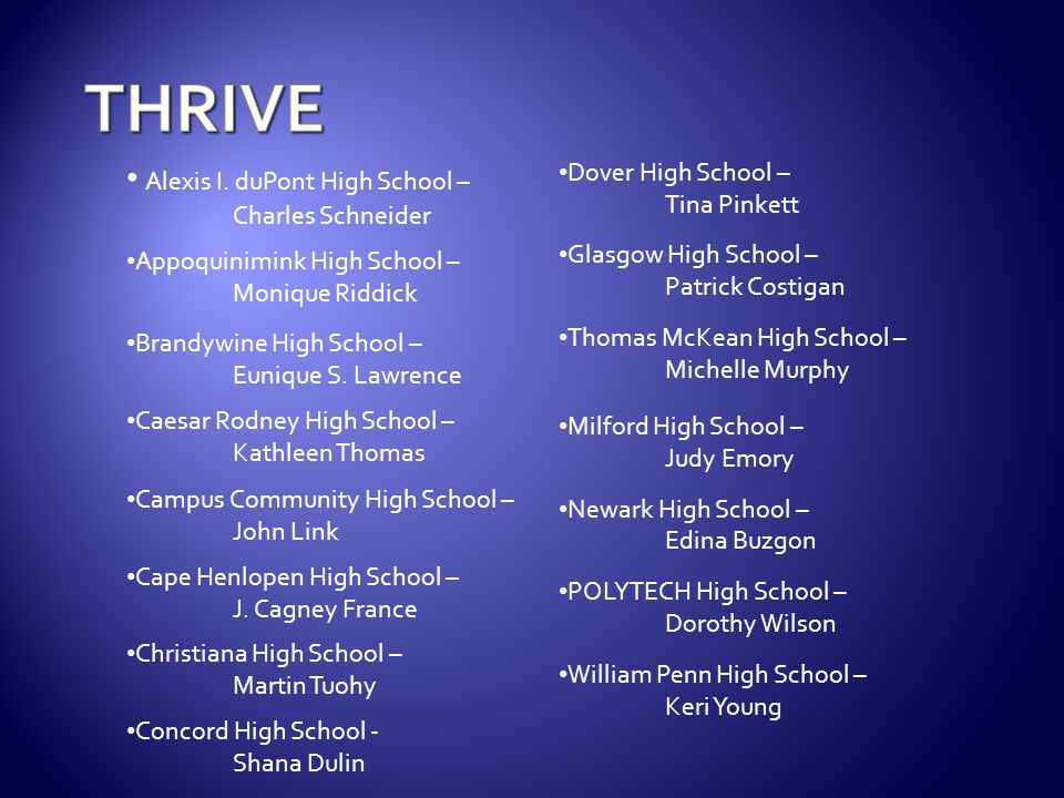 Third Place – Kelsey Hammel Caesar Rodney High School Second Place – Julia Gilley Brandywine High School First Place – Phyllis Spencer Newark High School