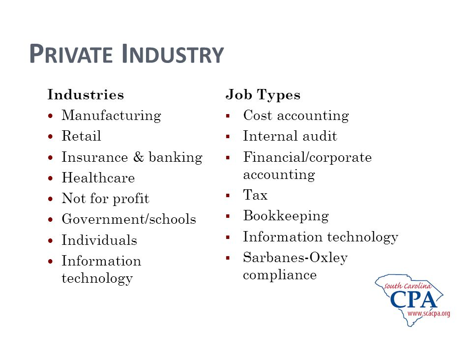 P RIVATE I NDUSTRY Industries Manufacturing Retail Insurance & banking Healthcare Not for profit Government/schools Individuals Information technology Job Types Cost accounting Internal audit Financial/corporate accounting Tax Bookkeeping Information technology Sarbanes-Oxley compliance