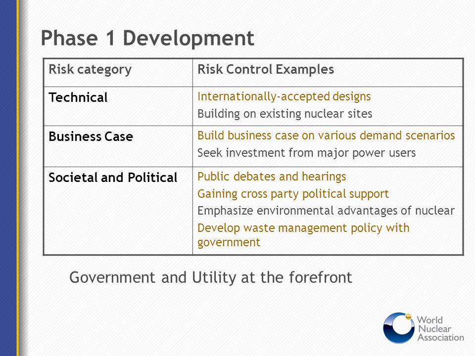 Phase 1 Development Risk categoryRisk Control Examples Technical Internationally-accepted designs Building on existing nuclear sites Business Case Bui