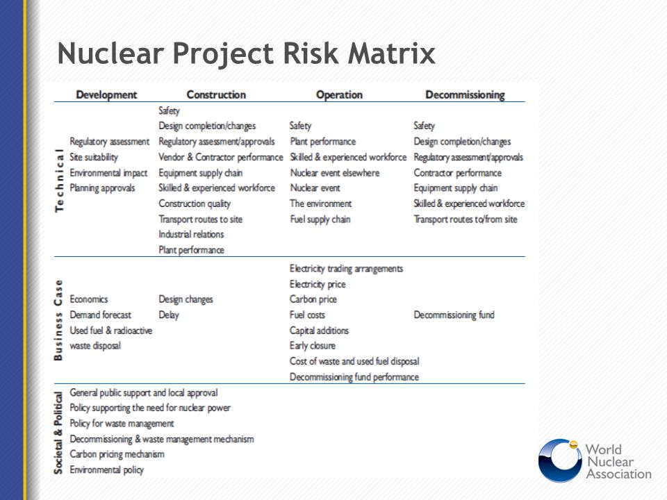 Nuclear Project Risk Matrix