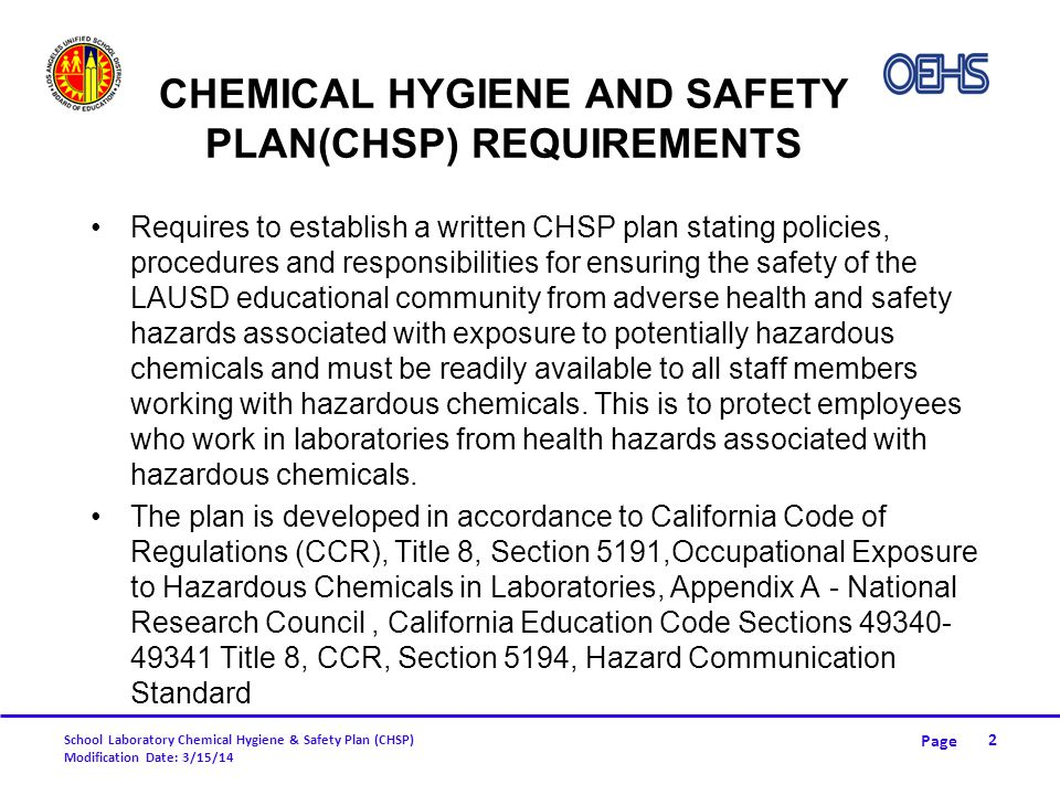 Page School Laboratory Chemical Hygiene & Safety Plan (CHSP) Modification Date: 3/15/14 DISPOSAL (CONT.) Fill out this form and fax to OEHS at (213) 241-6816 33