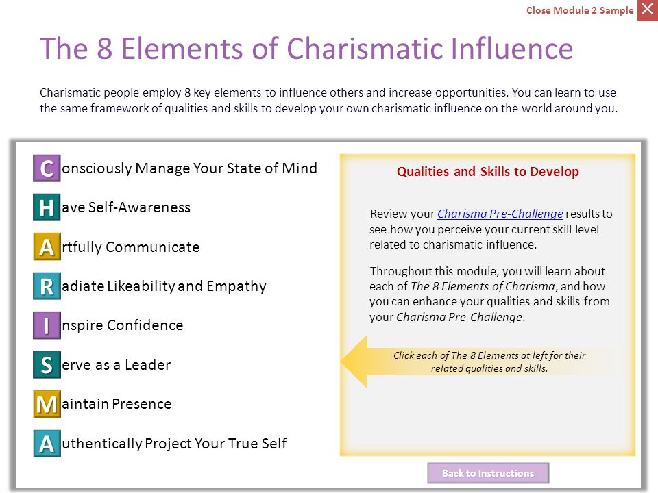 C onsciously Manage Your State of Mind ave Self-Awareness H rtfully Communicate A adiate Likeability and Empathy R nspire Confidence I erve as a Leader S aintain PresenceM uthentically Project Your True Self A Back to Instructions Back to Instructions Qualities and Skills to Develop The 8 Elements of Charismatic Influence Charismatic people employ 8 key elements to influence others and increase opportunities.
