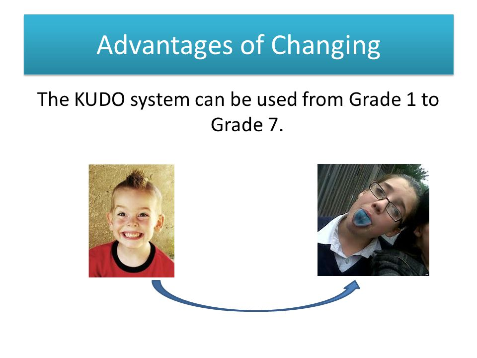 Advantages of Changing The KUDO system can be used from Grade 1 to Grade 7.