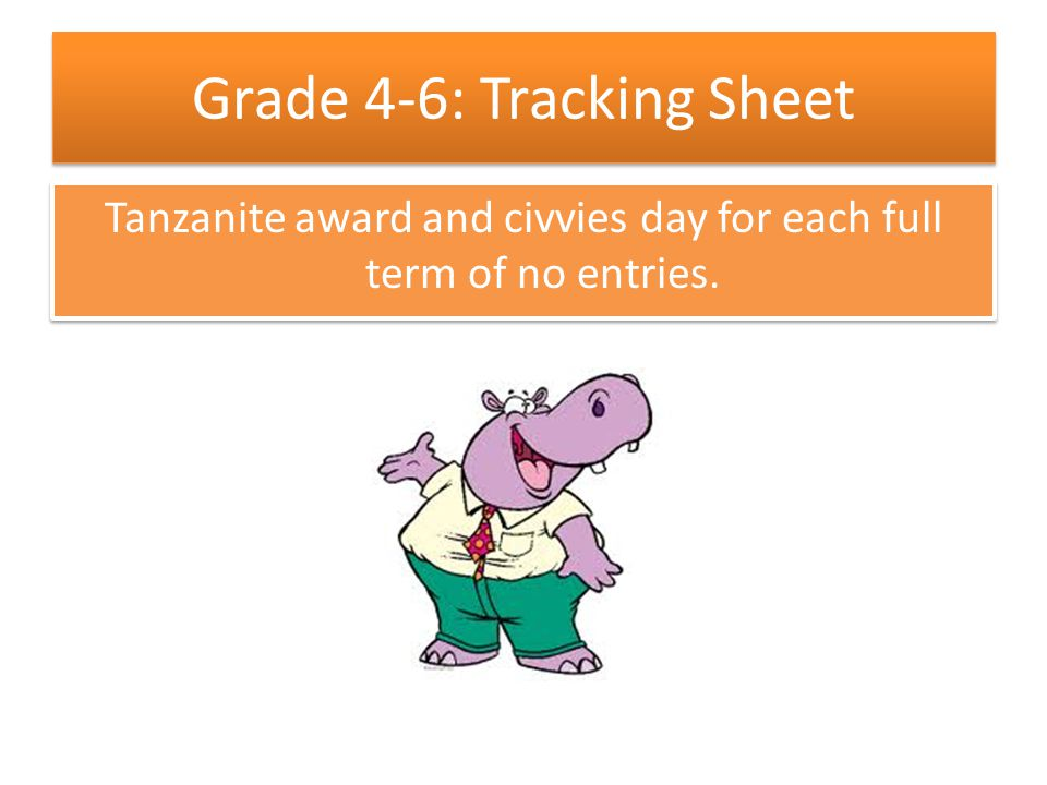 Grade 4-6: Tracking Sheet Tanzanite award and civvies day for each full term of no entries.