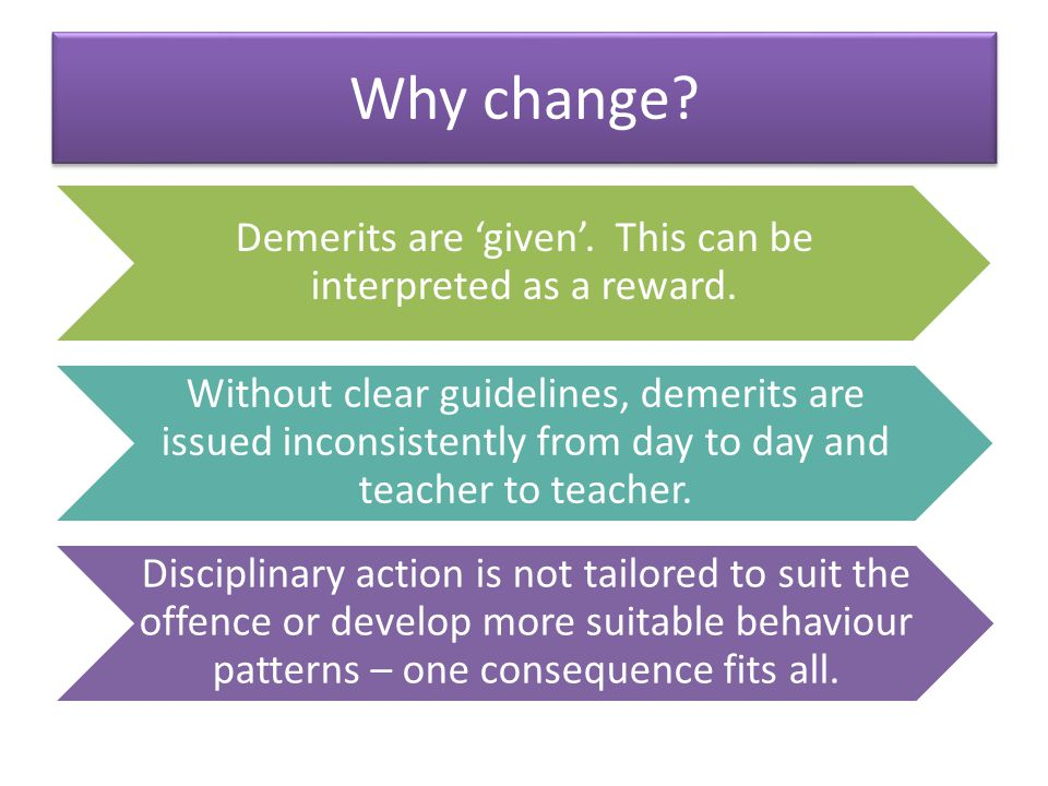 Why change. Demerits are given. This can be interpreted as a reward.