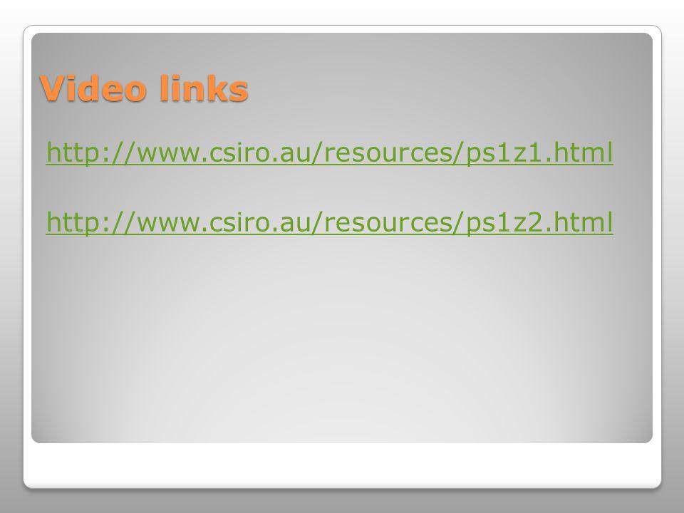 Video links http://www.csiro.au/resources/ps1z1.html http://www.csiro.au/resources/ps1z2.html