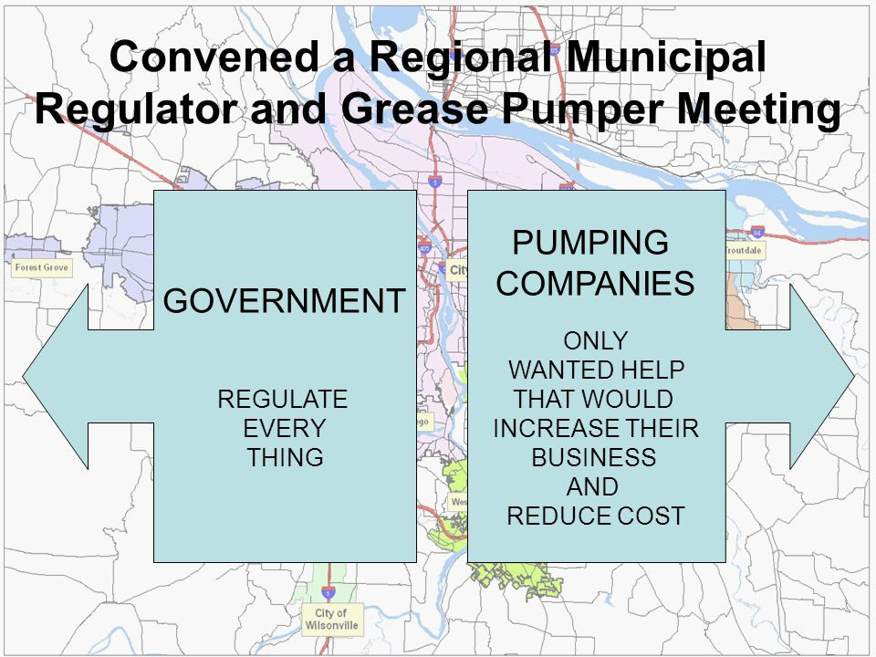 GOVERNMENT REGULATE EVERY THING PUMPING COMPANIES ONLY WANTED HELP THAT WOULD INCREASE THEIR BUSINESS AND REDUCE COST Convened a Regional Municipal Re