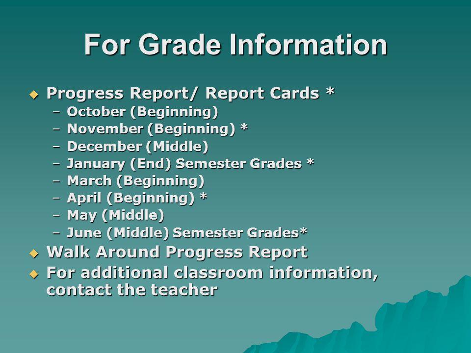 For Grade Information Progress Report/ Report Cards * Progress Report/ Report Cards * –October (Beginning) –November (Beginning) * –December (Middle)