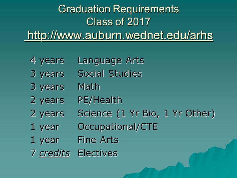 Graduation Requirements Class of 2017 http://www.auburn.wednet.edu/arhs 4 years Language Arts 3 years Social Studies 3 years Math 2 yearsPE/Health 2 y