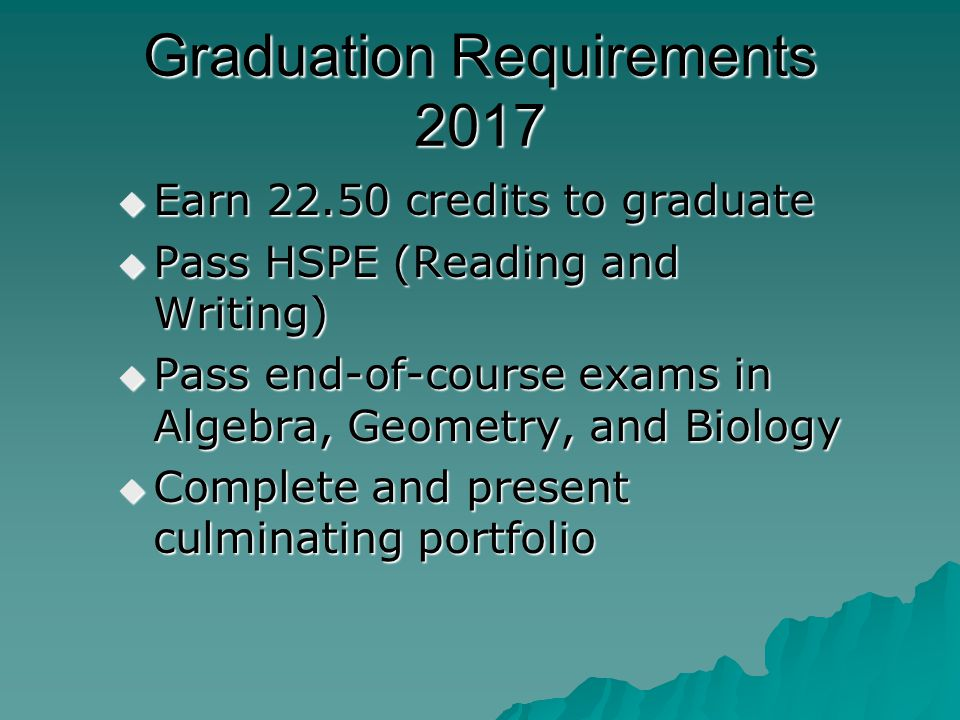 Graduation Requirements 2017 Earn 22.50 credits to graduate Earn 22.50 credits to graduate Pass HSPE (Reading and Writing) Pass HSPE (Reading and Writ