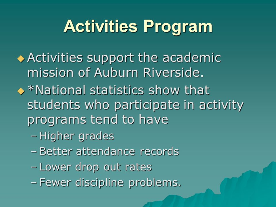 Activities Program Activities provide valuable lessons for many practical situations Activities provide valuable lessons for many practical situations Through activity programs, students Through activity programs, students –Learn self-discipline –Build confidence –Develop skills to handle diverse situations.