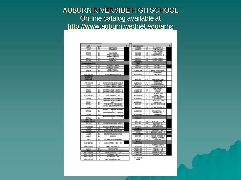 AUBURN RIVERSIDE HIGH SCHOOL On-line catalog available at http://www.auburn.wednet.edu/arhs