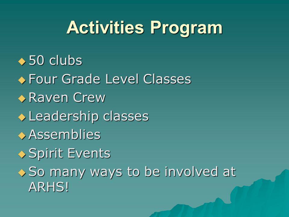 Activities Program 50 clubs 50 clubs Four Grade Level Classes Four Grade Level Classes Raven Crew Raven Crew Leadership classes Leadership classes Ass