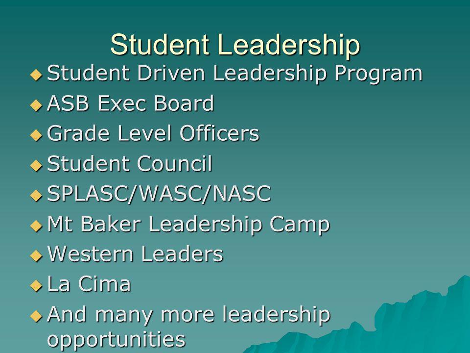 Student Leadership Student Driven Leadership Program Student Driven Leadership Program ASB Exec Board ASB Exec Board Grade Level Officers Grade Level