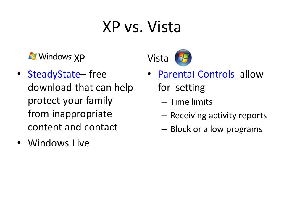 XP vs. Vista XP SteadyState– free download that can help protect your family from inappropriate content and contact SteadyState Windows Live Vista Par