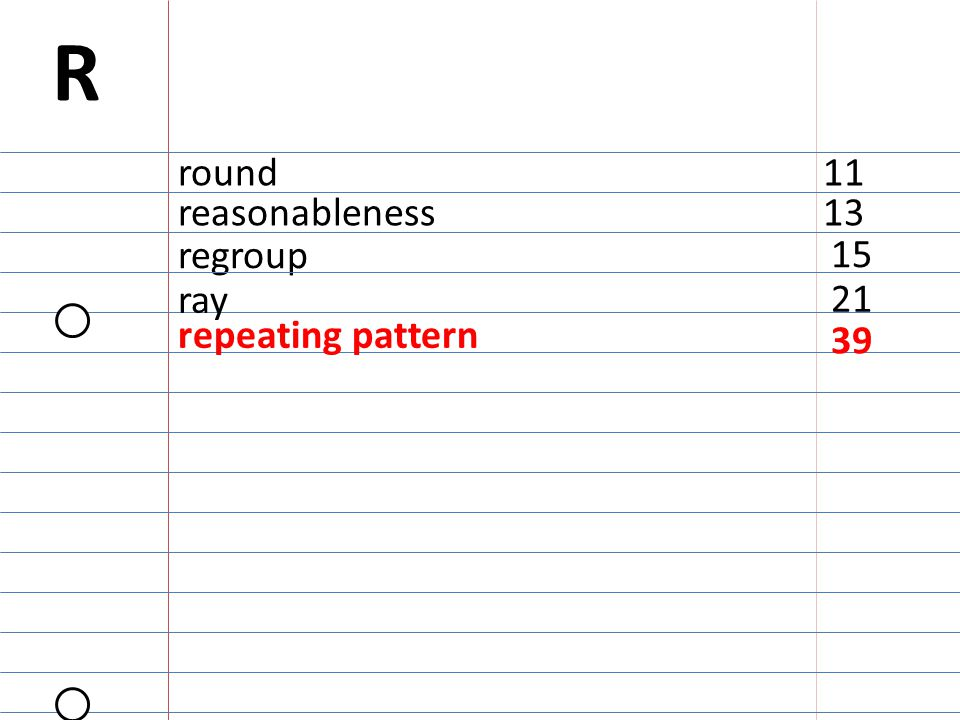 15 regroup R round11 reasonableness13 21 ray repeating pattern 39