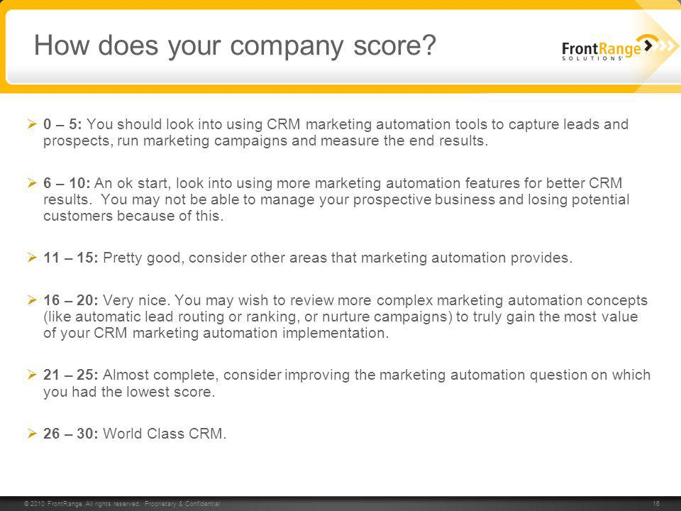 © 2010 FrontRange. All rights reserved. Proprietary & Confidential 16 How does your company score? 0 – 5: You should look into using CRM marketing aut