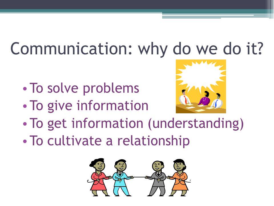 Communication: why do we do it.