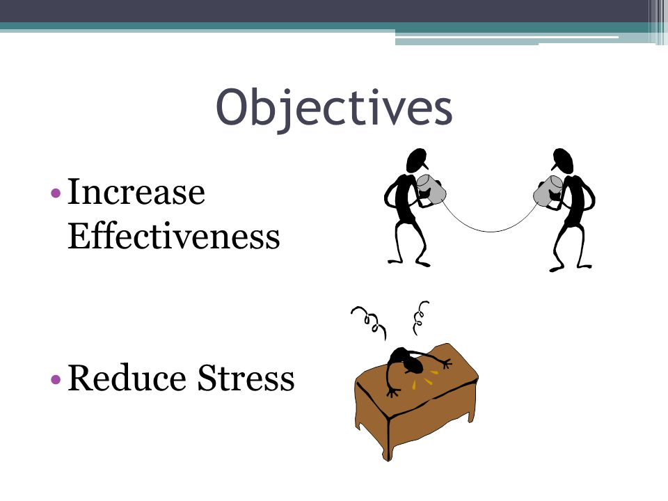 Objectives Increase Effectiveness Reduce Stress