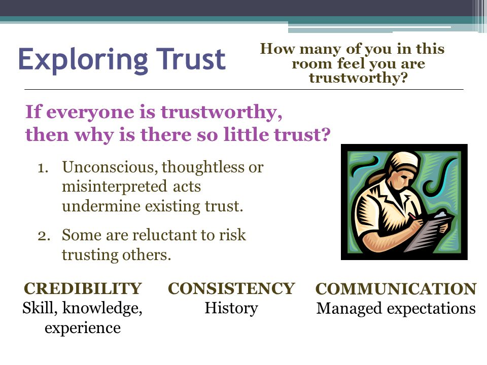 Exploring Trust How many of you in this room feel you are trustworthy.