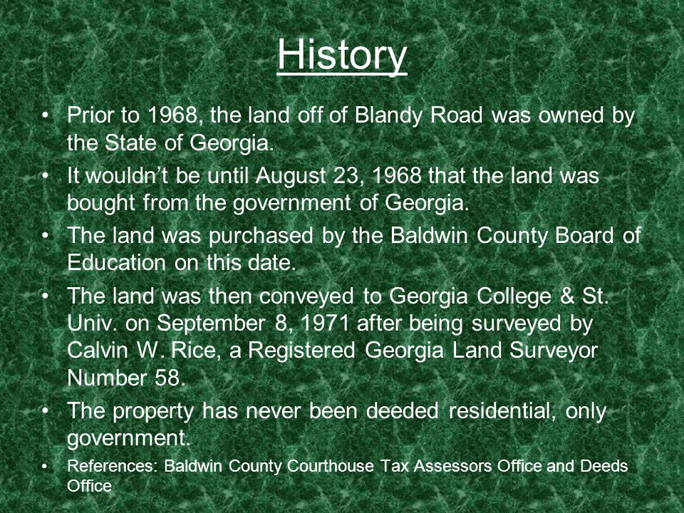 History Prior to 1968, the land off of Blandy Road was owned by the State of Georgia.