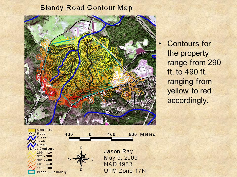 Contours for the property range from 290 ft. to 490 ft. ranging from yellow to red accordingly.