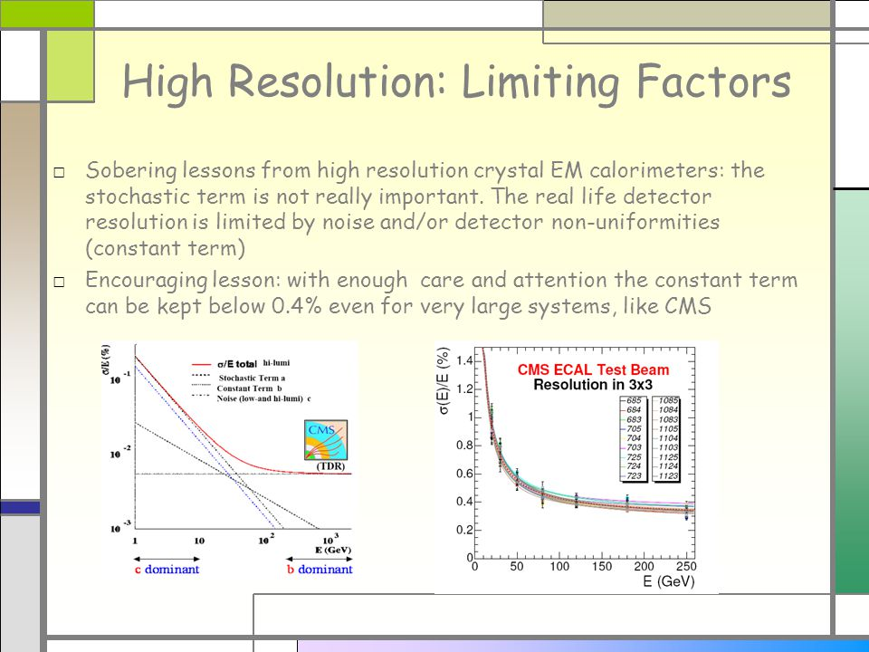 High Resolution: Limiting Factors Sobering lessons from high resolution crystal EM calorimeters: the stochastic term is not really important.