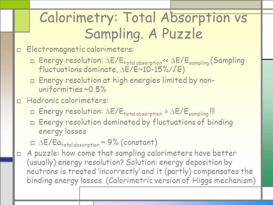 Calorimetry: Total Absorption vs Sampling.