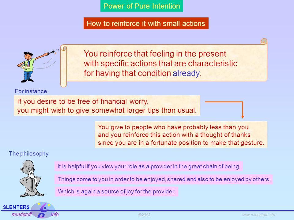 ©2013 SLENTERS mindstuff info www.mindstuff.info Power of Pure Intention Recap 1.Beware, needs create a gap.