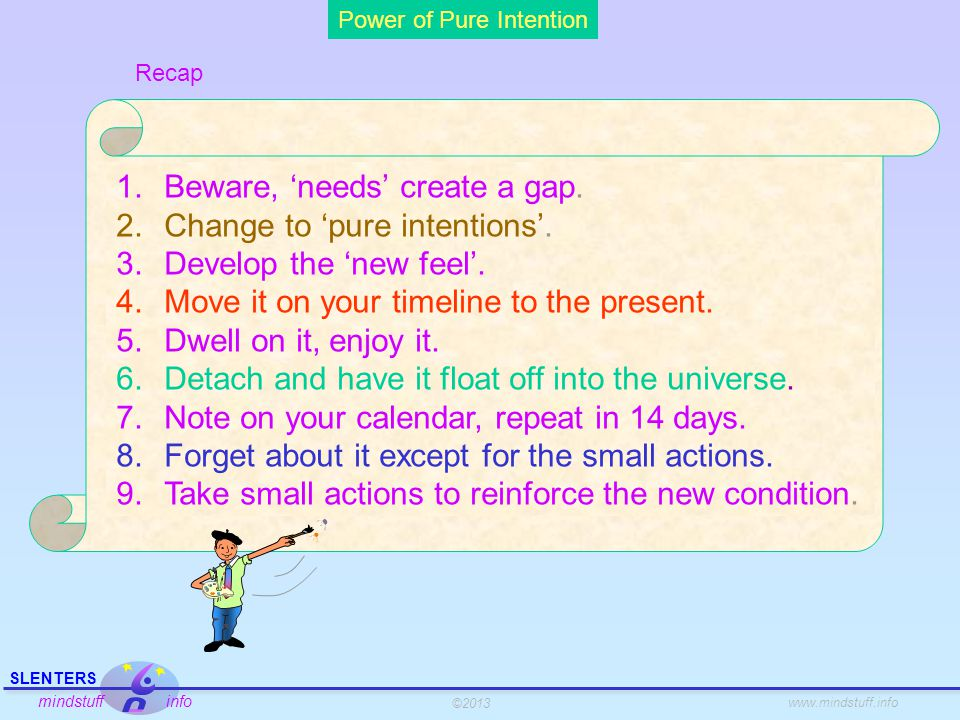 ©2013 SLENTERS mindstuff info www.mindstuff.info Power of Pure Intention Your point of power is in the present, which is your point of theoretical infinite potential about your past and future.
