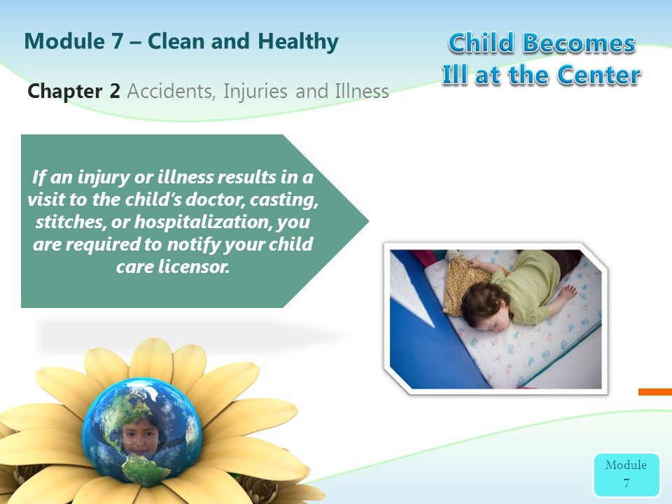 Chapter 2 Accidents, Injuries and Illness Module 7 – Clean and Healthy Module 7 If an injury or illness results in a visit to the childs doctor, casti