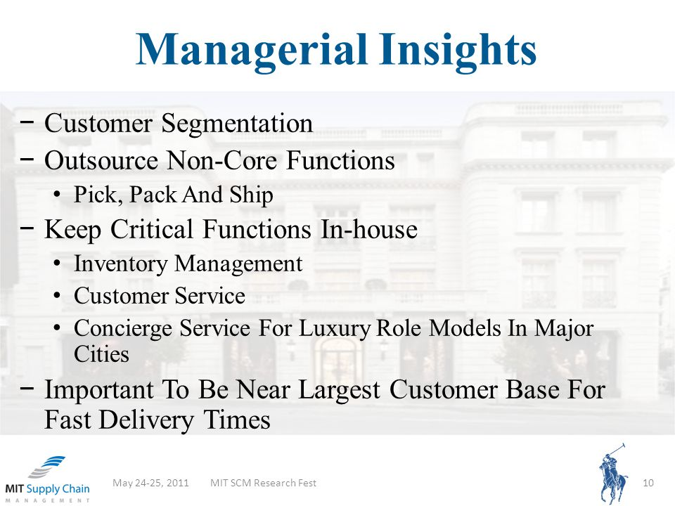 Managerial Insights May 24-25, 2011MIT SCM Research Fest10 Customer Segmentation Outsource Non-Core Functions Pick, Pack And Ship Keep Critical Functions In-house Inventory Management Customer Service Concierge Service For Luxury Role Models In Major Cities Important To Be Near Largest Customer Base For Fast Delivery Times