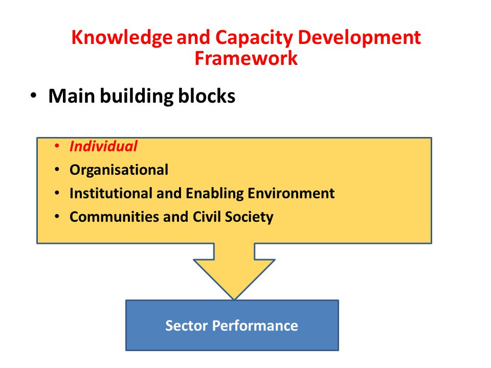 The individual level Factual knowledge Understanding Skills Attitudes Explicit knowledge: Training Education Research Tacit knowledge: Apprenticeship Peer learning Learning-by-doing Networking Explicit knowledge: Training Education Research Tacit knowledge: Apprenticeship Peer learning Learning-by-doing Networking Existing capacity: Can be developed through: Technical competence Managerial competence Governance competence Competence for continuous learning Indicator/attribute: Knowledge and Capacity Development Framework (Contd.) Factual knowledge Understanding Skills Attitudes Developed capacity: