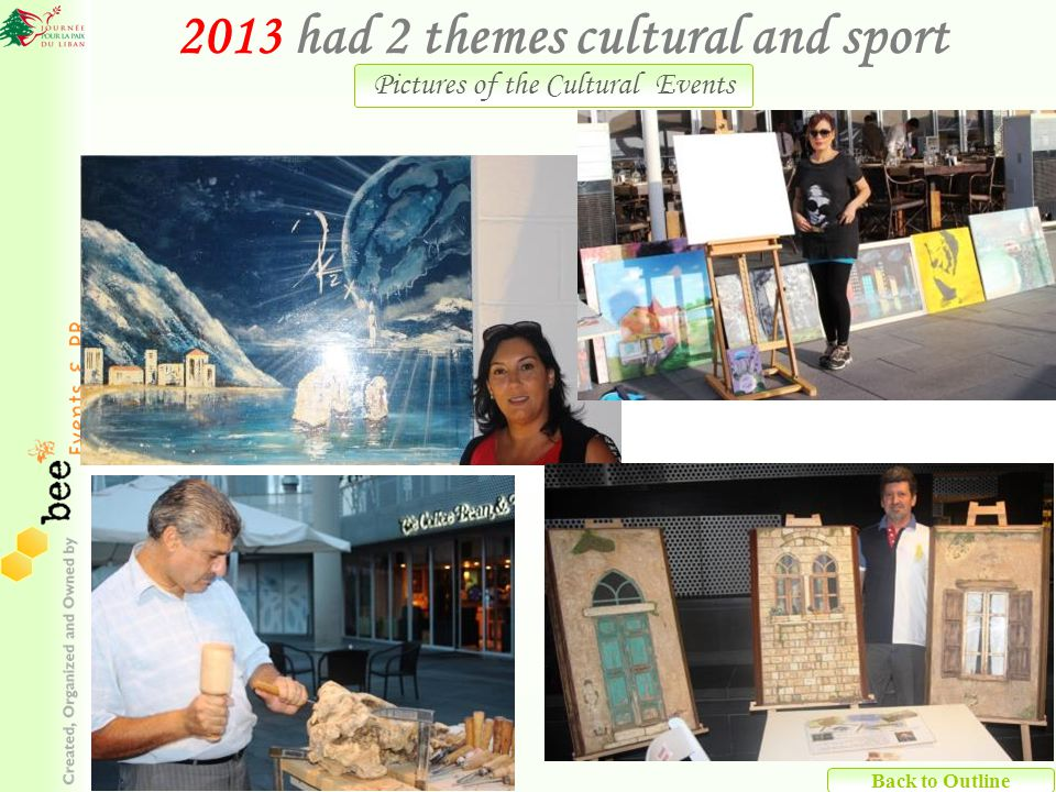 Back to Outline 2013 had 2 themes cultural and sport Pictures of the Cultural Events