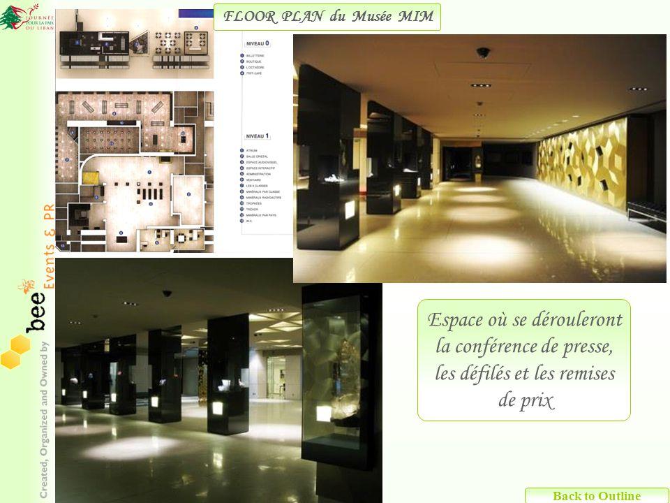 Espace où se dérouleront la conférence de presse, les défilés et les remises de prix FLOOR PLAN du Musée MIM