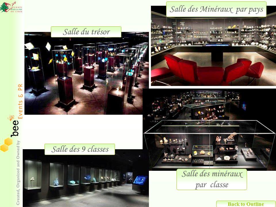 Back to Outline Salle des Minéraux par pays Salle du trésor Salle des 9 classes Salle des minéraux par classe