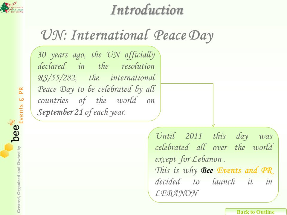 Back to Outline 30 years ago, the UN officially declared in the resolution RS/55/282, the international Peace Day to be celebrated by all countries of the world on September 21 of each year.