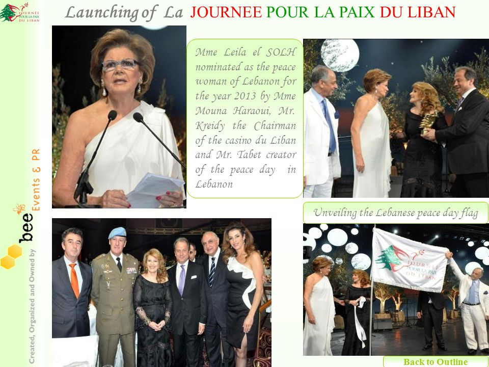 Back to Outline Mme Leila el SOLH nominated as the peace woman of Lebanon for the year 2013 by Mme Mouna Haraoui, Mr.