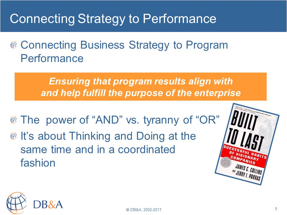 DB&A, 2002-2011 Connecting Strategy to Performance Connecting Business Strategy to Program Performance The power of AND vs. tyranny of OR Its about Th