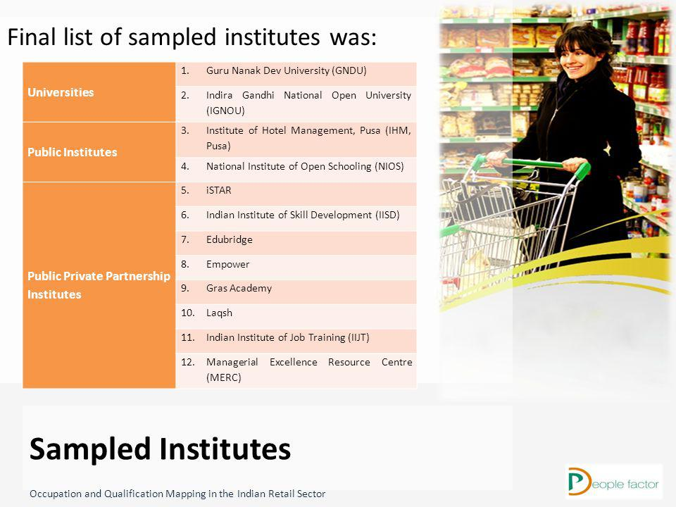 Final list of sampled institutes was: Sampled Institutes Universities 1.Guru Nanak Dev University (GNDU) 2.Indira Gandhi National Open University (IGNOU) Public Institutes 3.Institute of Hotel Management, Pusa (IHM, Pusa) 4.National Institute of Open Schooling (NIOS) Public Private Partnership Institutes 5.iSTAR 6.Indian Institute of Skill Development (IISD) 7.Edubridge 8.Empower 9.Gras Academy 10.Laqsh 11.Indian Institute of Job Training (IIJT) 12.Managerial Excellence Resource Centre (MERC) Occupation and Qualification Mapping in the Indian Retail Sector