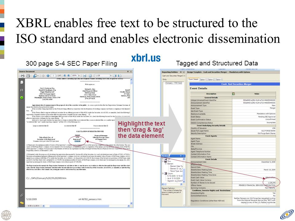 300 page S-4 SEC Paper Filing Tagged and Structured Data XBRL enables free text to be structured to the ISO standard and enables electronic dissemination Highlight the text then drag & tag the data element