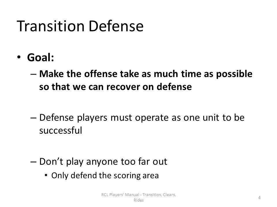 Preparation for Restarts Pressure – Adjust by moving down toward ball – Create uneven situations in your defensive half – Catch and carry Base Clear RCL Players Manual - Transition, Clears, Rides 35