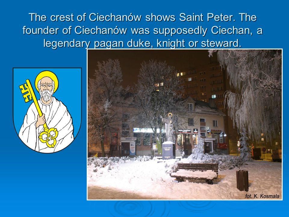 The crest of Ciechanów shows Saint Peter.
