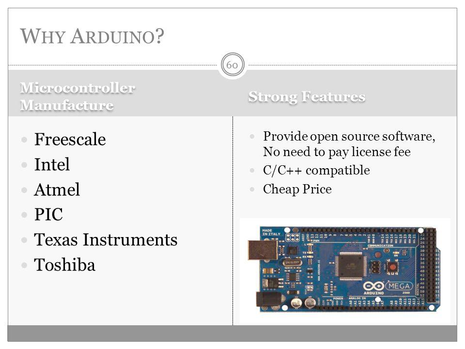 Microcontroller Manufacture Strong Features Freescale Intel Atmel PIC Texas Instruments Toshiba Provide open source software, No need to pay license fee C/C++ compatible Cheap Price W HY A RDUINO .