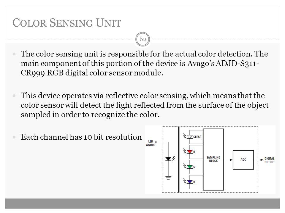 C OLOR S ENSING U NIT The color sensing unit is responsible for the actual color detection.