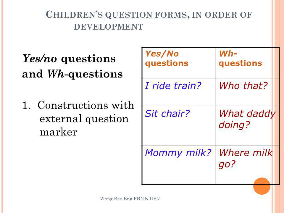C HILDREN S QUESTION FORMS, IN ORDER OF DEVELOPMENT Yes/no questions and Wh -questions 1.